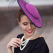 handmade. Livemaster - original item Evening hat with veil. Color fuchsia. Handmade.