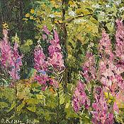 Картины и панно handmade. Livemaster - original item Painting flowers in a clearing, landscape with Ivan-tea oil. Handmade.