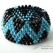 Украшения handmade. Livemaster - original item Beaded bracelet and beads Zigzag weave blue black. Handmade.
