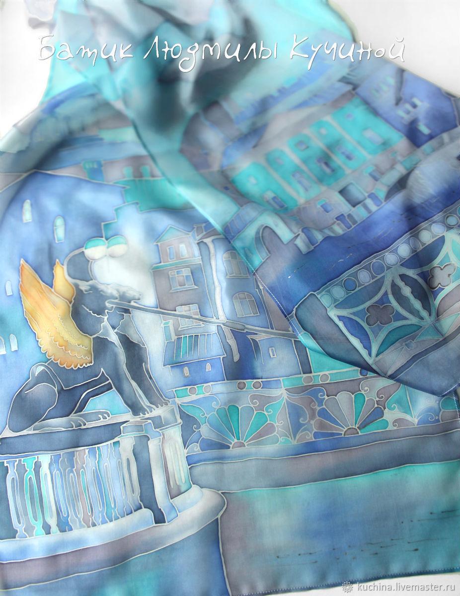 """Батик шарф """"Синий Петербург"""", шелковый, Шарфы, Санкт-Петербург,  Фото №1"""