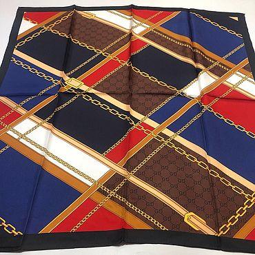 Винтаж ручной работы. Ярмарка Мастеров - ручная работа Платок Gucci сине-красный-коричневый 90х90 см шелк. Handmade.