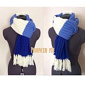 Scarves handmade. Livemaster - original item Blue-white-blue striped scarf