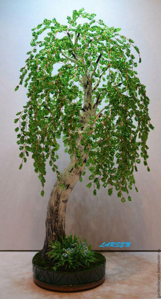 Деревья ручной работы. Ярмарка Мастеров - ручная работа. Купить Береза из бисера #2. Handmade. Зеленый, подарок на любой случай