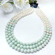 Украшения handmade. Livemaster - original item Necklace made of natural jade and pearls. Handmade.