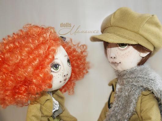 """Коллекционные куклы ручной работы. Ярмарка Мастеров - ручная работа. Купить 2 текстильные куклы из грунтованной бязи """"Влюбленные"""". Handmade."""