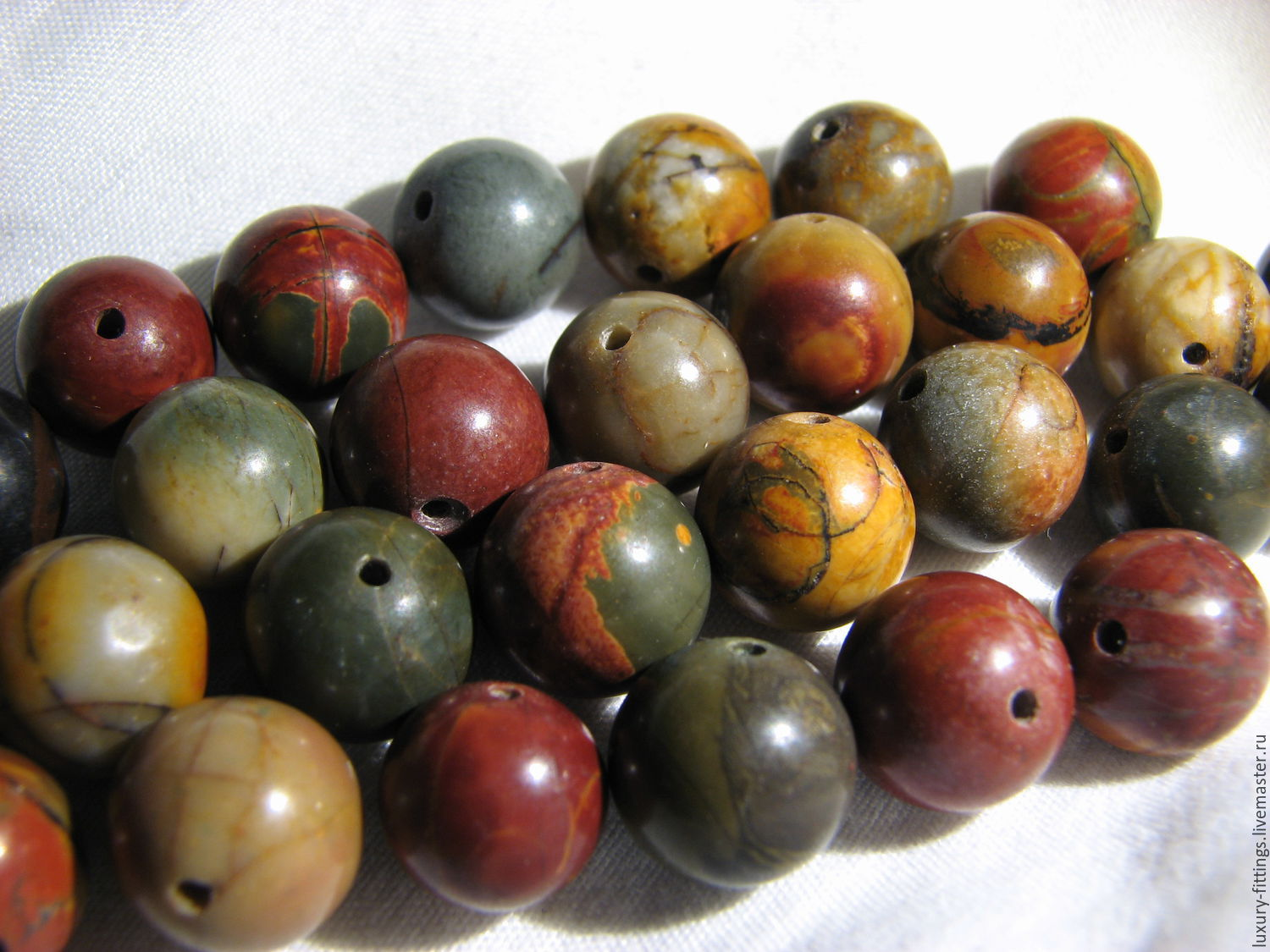 Picasso Jasper 10mm smooth bead, Beads1, Moscow,  Фото №1