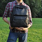 Рюкзаки ручной работы. Ярмарка Мастеров - ручная работа Рюкзак мужской кожаный черный. Handmade.