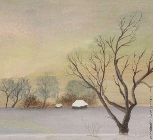 """Прихожая ручной работы. Ярмарка Мастеров - ручная работа. Купить картина """"Зимний вечер"""" (серый, черный). Handmade. Серый, домики"""