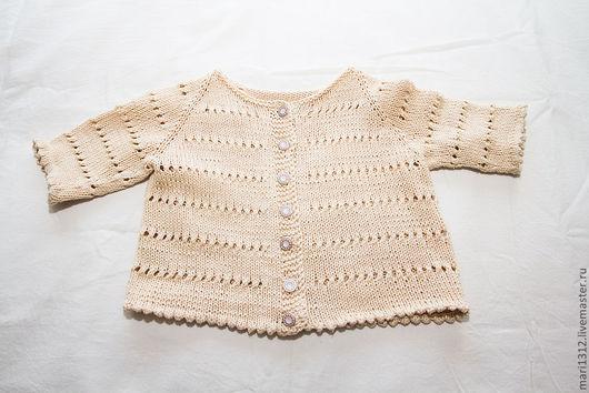 Кофты и свитера ручной работы. Ярмарка Мастеров - ручная работа. Купить Кофта ажурная летняя х/б для девочки 1-2 года. Handmade.