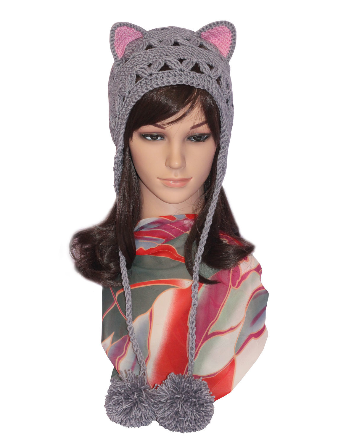 Hat with Cat ears, lace knitted ladies damizean, Caps, Orenburg,  Фото №1