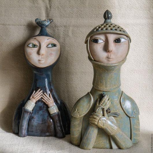 Статуэтки ручной работы. Ярмарка Мастеров - ручная работа. Купить Рыцарь и Дама. Handmade. Разноцветный, доспехи