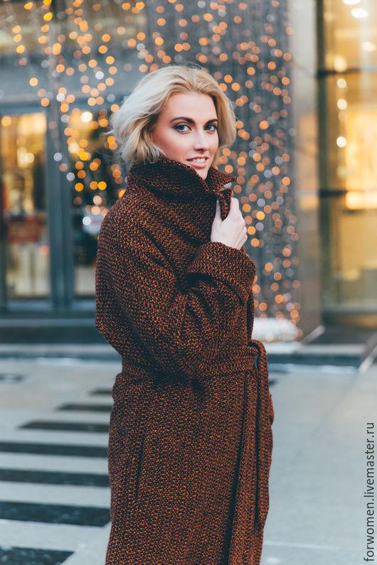 Верхняя одежда ручной работы. Ярмарка Мастеров - ручная работа. Купить Зимнее пальто-халат, оранжевое. Handmade. Комбинированный