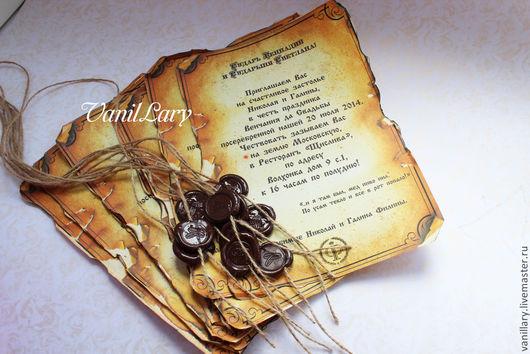 Свадебные аксессуары ручной работы. Ярмарка Мастеров - ручная работа. Купить Свадебные приглашения в виде старинных свитков.Сургуч-1. Handmade.