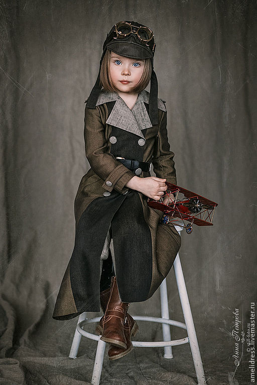 Одежда для девочек, ручной работы. Ярмарка Мастеров - ручная работа. Купить Костюм авиатора. Handmade. Хаки