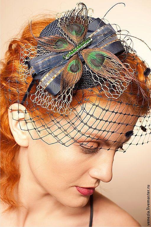"""Шляпы ручной работы. Ярмарка Мастеров - ручная работа. Купить Шляпка  """"Павлиний глаз"""". Handmade. Шляпка, скачки, синий цвет"""