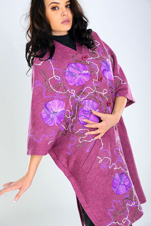 Верхняя одежда ручной работы. Ярмарка Мастеров - ручная работа. Купить ППЖ 09. Handmade. Цветочный, модное пальто