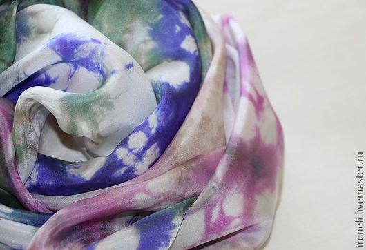 """Шарфы и шарфики ручной работы. Ярмарка Мастеров - ручная работа. Купить Батик шарф """"Сапфир"""". Handmade. Комбинированный, синий"""