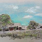 Картины и панно handmade. Livemaster - original item Painting landscape Village painting in pastel. Handmade.