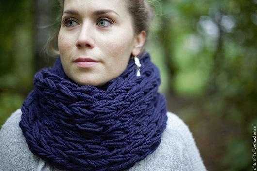 Шарфы и шарфики ручной работы. Ярмарка Мастеров - ручная работа. Купить Синий шарф снуд крупной вязки. Handmade.