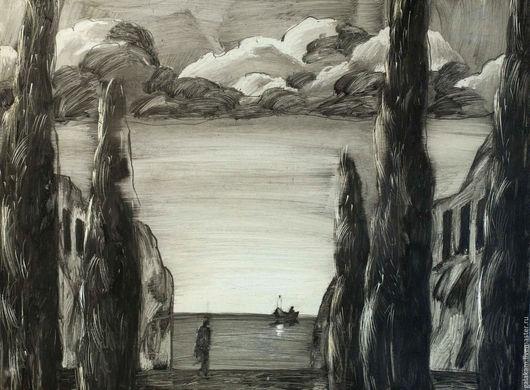 Пейзаж ручной работы. Ярмарка Мастеров - ручная работа. Купить Остров мертвых.. Handmade. Графика, чёрно-белый, картины для интерьера