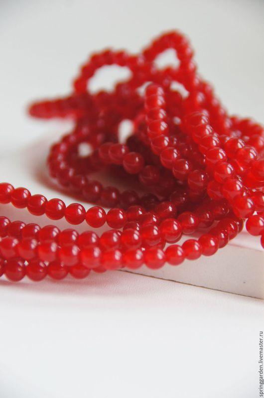 Для украшений ручной работы. Ярмарка Мастеров - ручная работа. Купить Нефрит бусина СЛАДКАЯ КЛЮКВА , красная 4 мм,гладкий шар. Handmade.