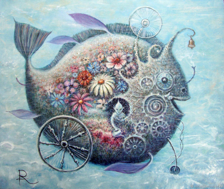 Животные ручной работы. Ярмарка Мастеров - ручная работа. Купить Perpetumfish. Рыба. Картина маслом. Handmade. Рыба, картина маслом
