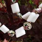 Украшения handmade. Livemaster - original item The bracelet is 5 minutes of summer. Cloisonne beads, white agate. Handmade.
