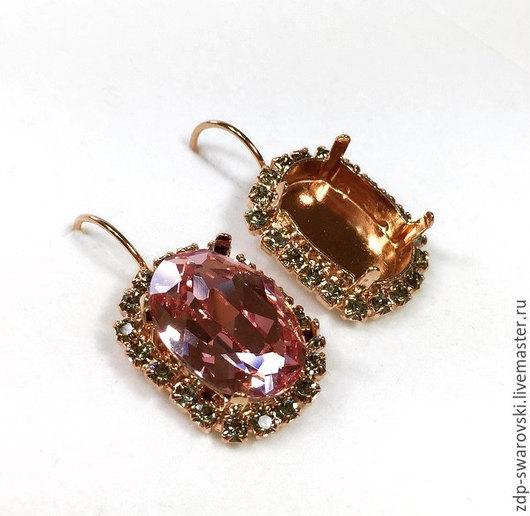 Артикул LBOV18BBDRP цвет металла розовое золото, цвет обрамляющих стразов черный бриллиант.