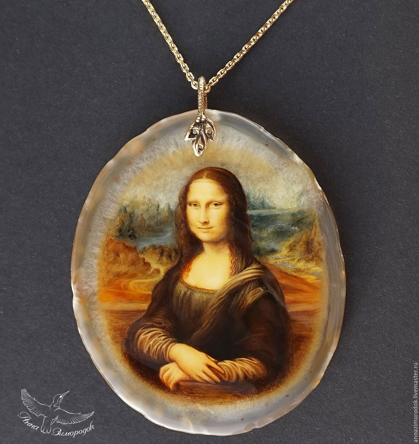 Buy pendant painted on the stone mona lisa leonardo da for Can you buy the mona lisa