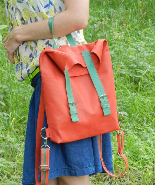 Женские сумки ручной работы. Ярмарка Мастеров - ручная работа. Купить яркий красный рюкзак - сумка. Handmade. Ярко-красный
