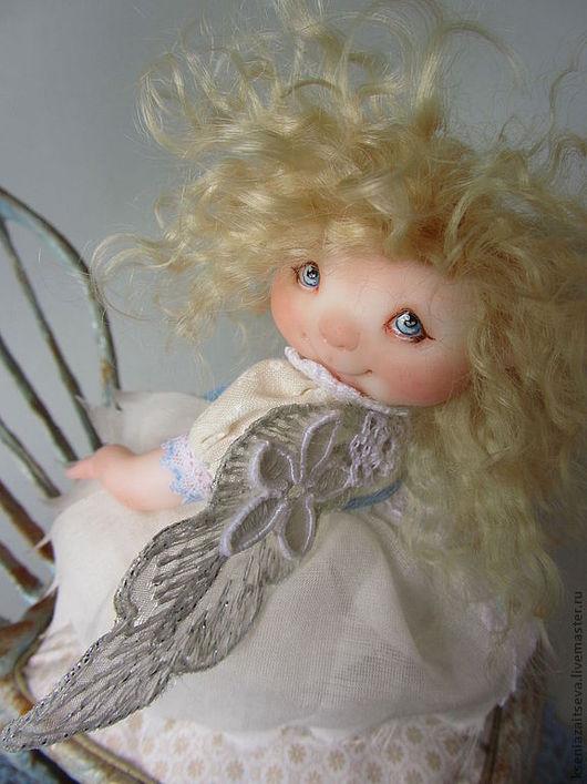 """Коллекционные куклы ручной работы. Ярмарка Мастеров - ручная работа. Купить """"Ангелюша"""". Handmade. Голубой, блондинка, крылышки, кружево"""