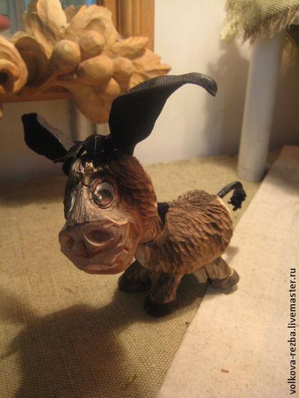 """Игрушки животные, ручной работы. Ярмарка Мастеров - ручная работа. Купить """"Ну чем я не конь"""", ослик- резьба по дереву. Handmade."""