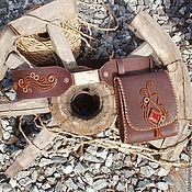 Аксессуары ручной работы. Ярмарка Мастеров - ручная работа Glam Steampunk - кожаный пояс с сумкой стимпанк с медным плетенным узо. Handmade.