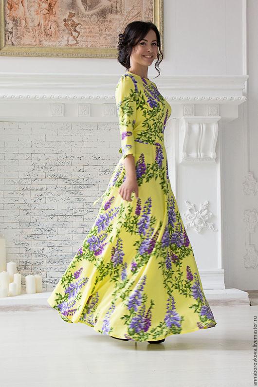 """Платья ручной работы. Ярмарка Мастеров - ручная работа. Купить Платье """"Сирень"""". Handmade. Желтый, платье длинное в пол"""