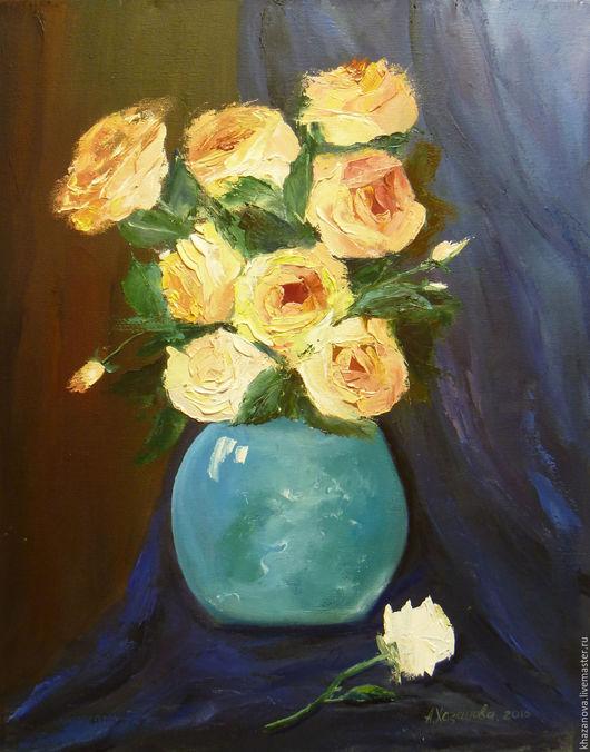 """Натюрморт ручной работы. Ярмарка Мастеров - ручная работа. Купить """"Розы в синей вазе"""" (холст/масло). Handmade. Тёмно-синий, цветы"""