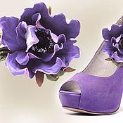 Украшения handmade. Livemaster - original item jewelry made of leather. Flowers brooches clips for shoes LILAC ANEMONES. Handmade.