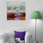 """Картины и панно ручной работы. Ярмарка Мастеров - ручная работа """"Morning dream"""" 65х65 см картина маслом мастихином пейзаж. Handmade."""