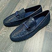 Обувь ручной работы handmade. Livemaster - original item Men`s moccasins, made of genuine ostrich leather, dark blue color.. Handmade.