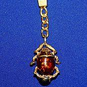 Аксессуары handmade. Livemaster - original item Scarab beetle keychain with cognac amber.. Handmade.