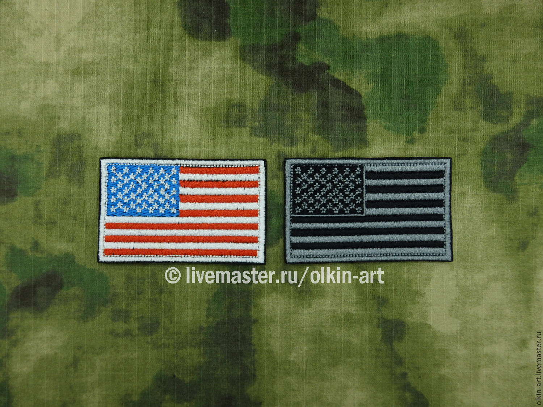 Нашивка `Флаг США` Машинная вышивка. Белорецкие нашивки. Нашивка. Шеврон. Патч. Вышивка. Шевроны.  Патчи. Нашивки. Купить нашивку.