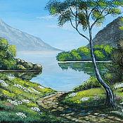 Картины и панно ручной работы. Ярмарка Мастеров - ручная работа Картина пейзаж зеленый природа Дорога к озеру. Handmade.
