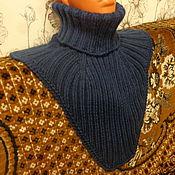Аксессуары ручной работы. Ярмарка Мастеров - ручная работа Манишка шерстяная (мериносовая шерсть) , тёмно -синяя. Handmade.