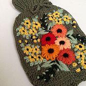 Для дома и интерьера ручной работы. Ярмарка Мастеров - ручная работа Грелка в вязаном чехле с вышивкой. Handmade.