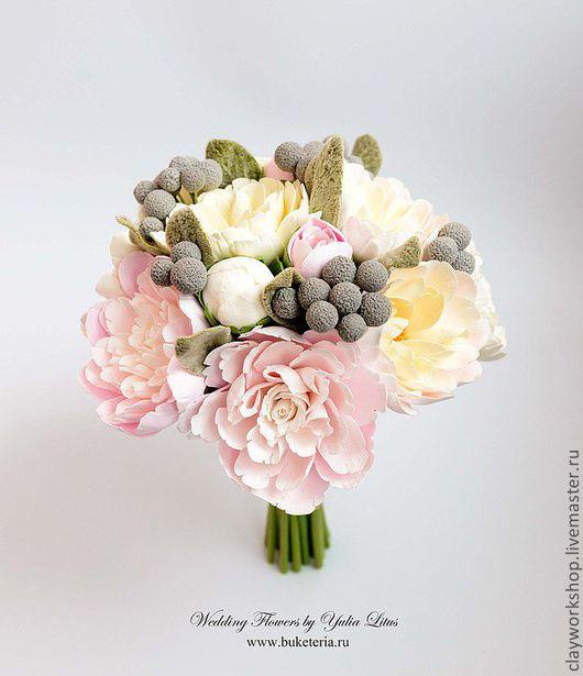 Свадебные цветы ручной работы. Ярмарка Мастеров - ручная работа. Купить Букет невесты с пионами и брунией. Handmade. Букет