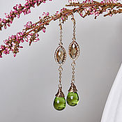 Украшения handmade. Livemaster - original item Long earrings with green droplets in 24K gold. Handmade.