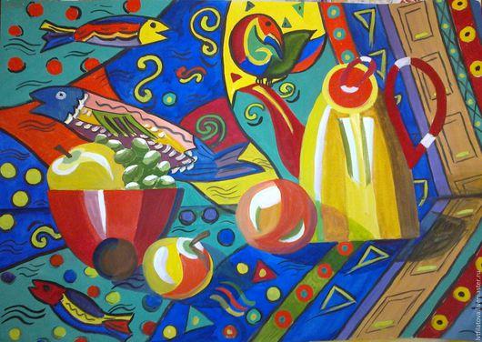 """Натюрморт ручной работы. Ярмарка Мастеров - ручная работа. Купить Картина """"Декоративный натюрморт"""", бумага, гуашь, 40х50 см.. Handmade."""