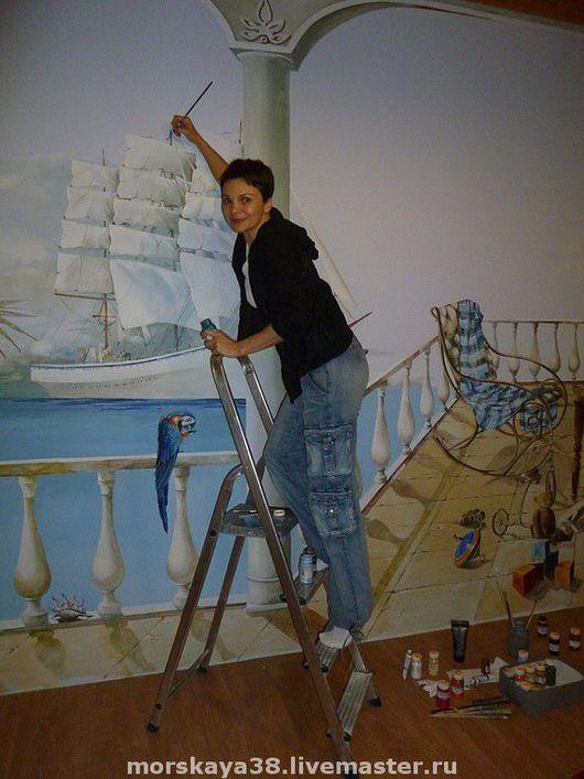 Детская ручной работы. Ярмарка Мастеров - ручная работа. Купить роспись стены в детской мальчика. Handmade. Роспись стен