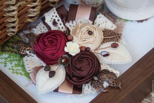 """Броши ручной работы. Ярмарка Мастеров - ручная работа. Купить Брошь из ткани """"Вишня и шоколад"""". Handmade. Брошь, цветы, шоколадный"""