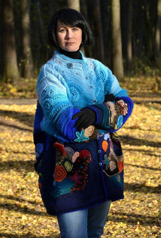 """Верхняя одежда ручной работы. Ярмарка Мастеров - ручная работа. Купить Теплый кардиган-фриформ """"Владычица морская"""". Handmade. Фриформ"""
