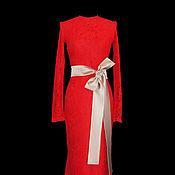 Одежда ручной работы. Ярмарка Мастеров - ручная работа Платье красное кружевное. Handmade.